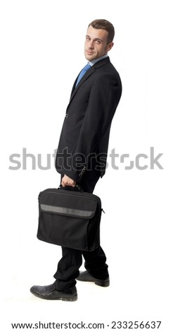 man in suit with a suitcase