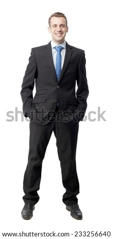 man in suit with self-confidence - stock photo