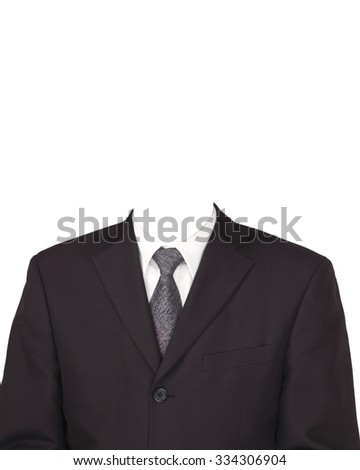 man in suit without head isolated on white