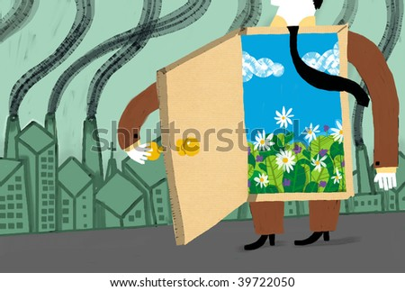 Man in te contaminated city with a door to the outdoors - stock photo