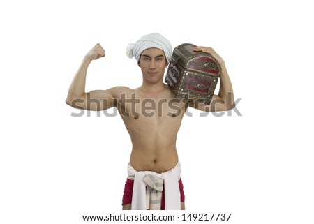 Man in Thai northern costume on white background