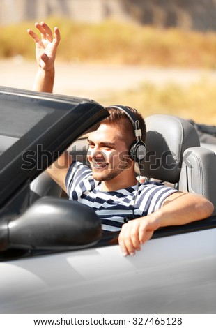 Man in the car outside