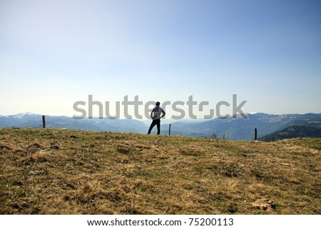 man in the mountain - stock photo