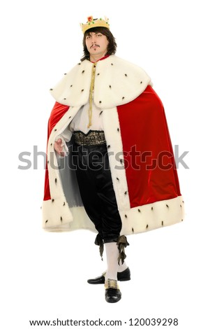 Man in the royal costume. Isolated on white - stock photo
