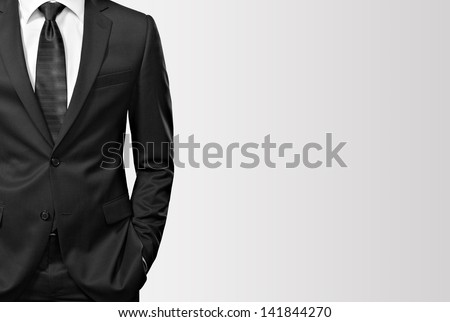 man in the suit on white - stock photo