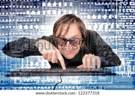 Man in the world of the new technology - stock photo