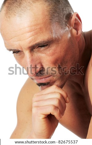 Man in thinker pose, portrait. Close-up against a white background.