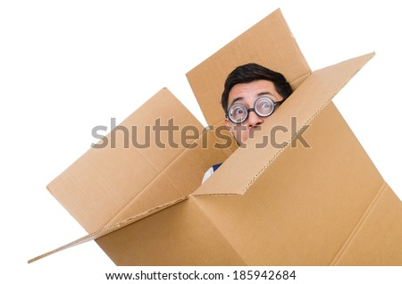 Man in thinking outside the box concept - stock photo