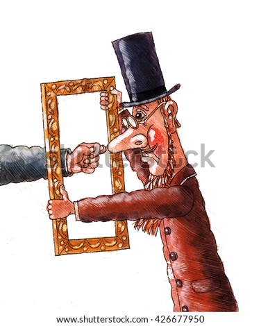 man in top hat showing a Fig,a Fig,watercolor,illustration - stock photo