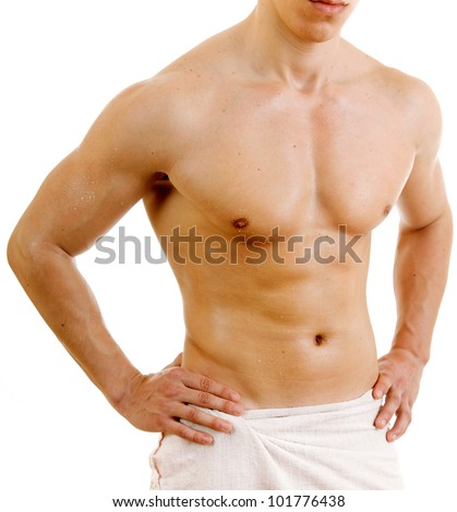 Man in towel, isolated on white - stock photo