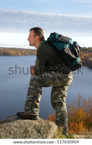 Man in travel - stock photo