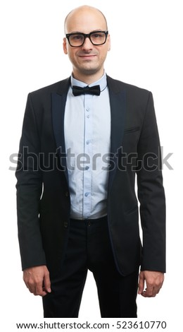 man in trendy suit isolated on white background