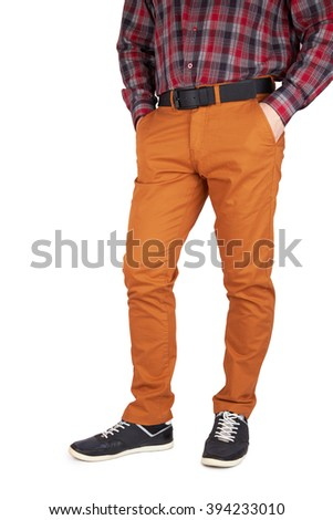 man in trousers and shirt isolated on white background - stock photo