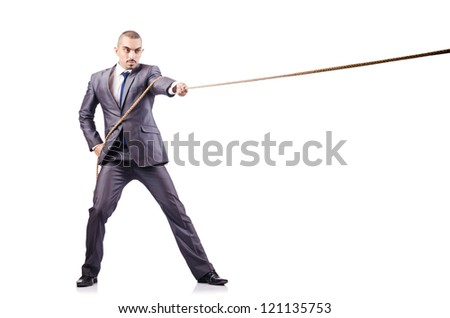Man in tug of war concept on white