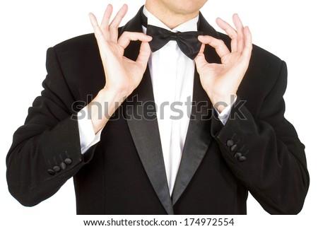 Man in tuxedo.Smoking - stock photo