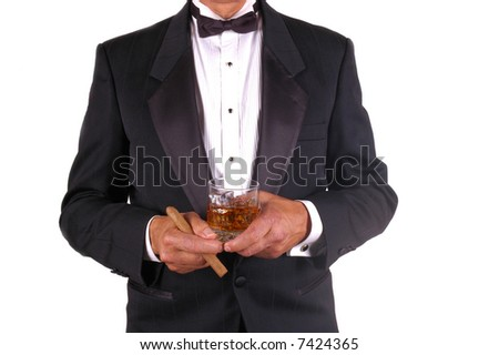 Man in Tuxedo with Drink and Cigar isolated over white