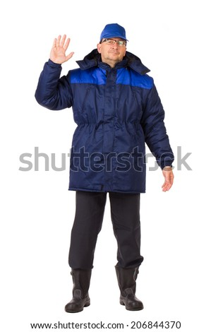 Man in uniform. Isolated on a white background. - stock photo