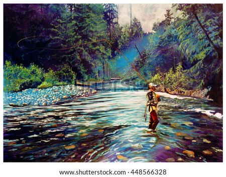 Man in waders  fly fishing on a river, his line cast behind him. Trees and forest surround the river.
