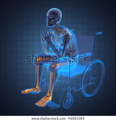Man in wheelchair made in 3D - stock photo