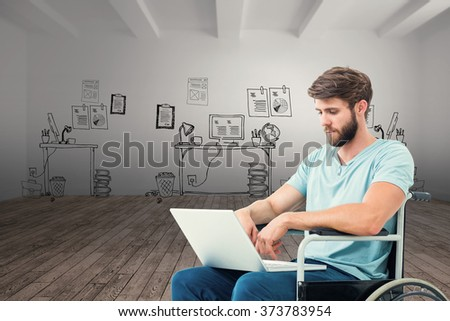 Man in wheelchair using computer against doodle office in room - stock photo