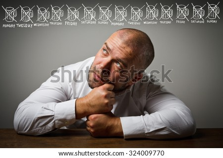 Man in white and beer. Abstinence concept.  - stock photo
