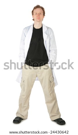 Man in white dressing gown - stock photo