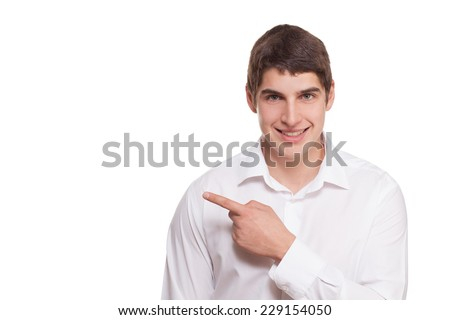 man in white shirt raised his index finger isolated on white background