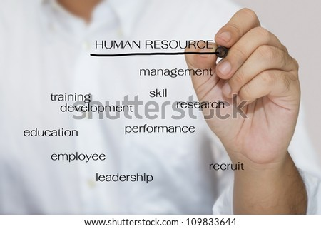 Man in white shirt write a Human resource concept - stock photo