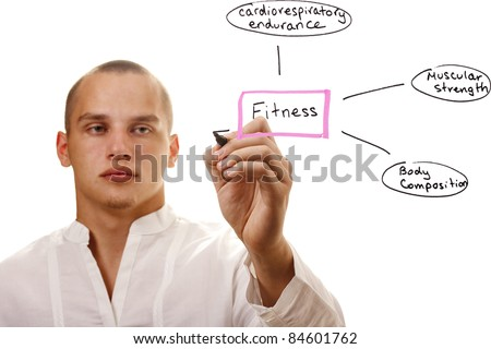 Man in white writing out components of physical fitness. - stock photo