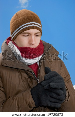 Man in Winter Clothing Outdoors - stock photo