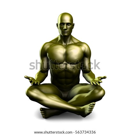 man yoga lotus position pose art stock illustration