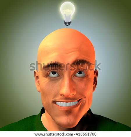 Man innovates 3D Render - stock photo