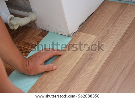 Man Installing Laminate Wood Flooring Problem Stock Photo Royalty