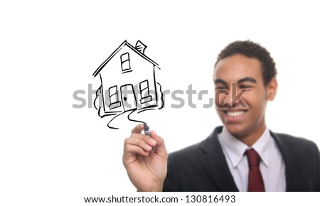 Man is drawing a house
