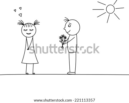Man is giving flowers to a woman.
