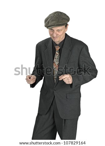Man is happy and lets it show with his jazz hands - stock photo