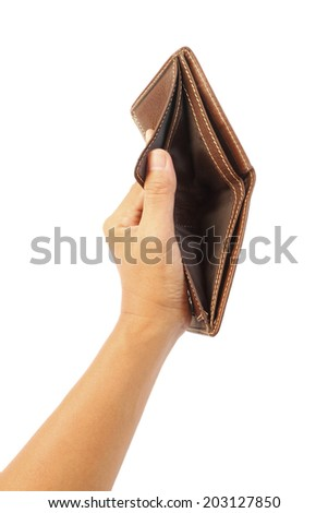 Man is holding empty brown wallet isolated on white. Bankruptcy concept. - stock photo