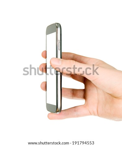 Man is holding smart mobile phone with blank screen