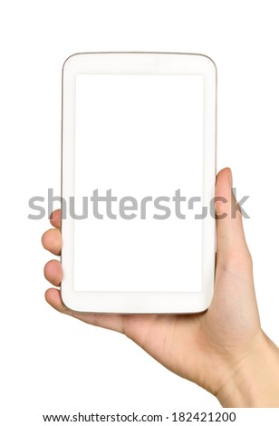 Man is holding white tablet on his hands - stock photo