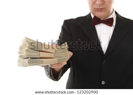Man is offering money for payment or bribe - stock photo