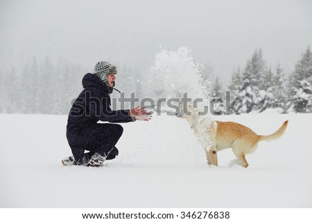 Man is playing with his yellow labrador retriever in winter landscape - stock photo