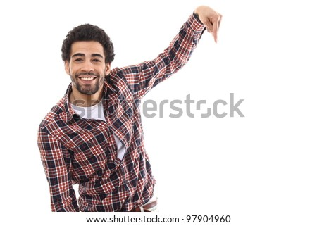 Man is pointing to an advertisement - stock photo