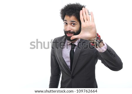 Man is saying stop or high five - stock photo