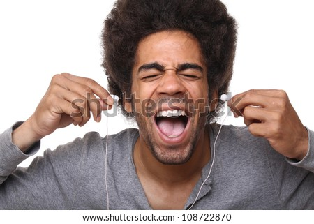Man is screaming with his music