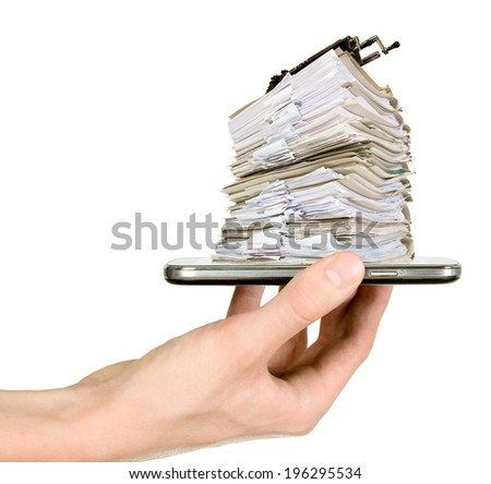 Man is showing many documents placed on his smart phone - stock photo