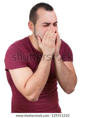 Man is sick and sneezes - stock photo