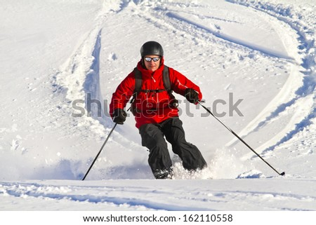 Man  is skiing back country - stock photo