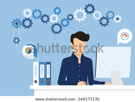 Man is working with computer. Flat modern illustration of working process - stock photo