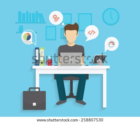 Man is working with laptop. Flat modern illustration of working process - stock photo