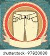 Man jeans label set on vintage old paper.Raster - stock photo